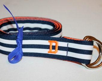 Kids Navy and Orange Belt Initial Belt Name Belt Monogram Belt