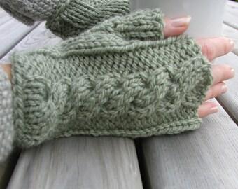 Fingerless Gloves Green Olive Mint