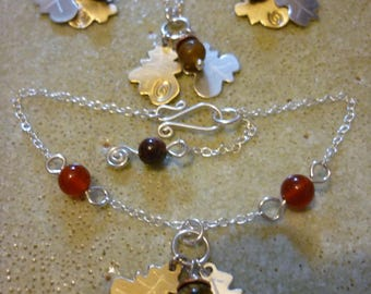Acorn and Oak Dream Jewellery, Squarehare, sterling silver pendant bracelet earrings, vegan UK, free postage, Druid celtic pagan handmade
