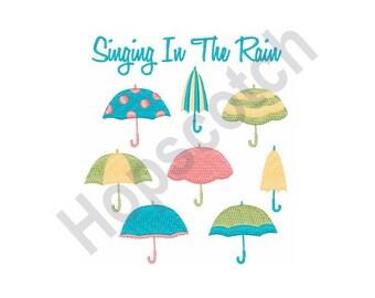 Singing In The Rain - Machine Embroidery Design, Umbrellas