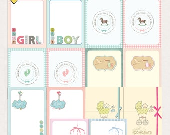 Baby Journal Cards - Instant Download - Printable journaling cards for Project Life and digital scrapbooking