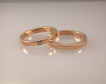 Solid 14K Rose Gold Diamond Engagement Band & Wedding Band Set, Wedding Set