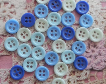 Blue round buttons 9 mm in diameter with 4 holes in acrylic (for 30 buttons).