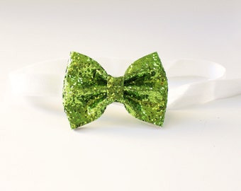Bright green glitter bow- sparkly lime green bow hair clip or elastic headband- baby toddler kids adult bow