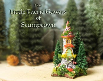 Stumptown Faerie Tower Upon a Star -Miniature Stone Tower on a Tree Stump w/ Mossy Roof, Crystal Orb, Fairy Door, Mushrooms and Pine Trees