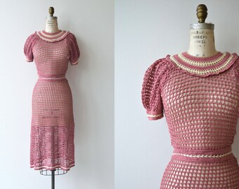 Bonjour crochet dress | 1930s cotton crochet dress | vintage 30s dress