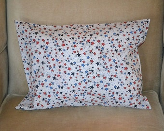 Travel Pillow Case / Accent Pillow Case PATRIOTIC /  Red White & Blue STARS