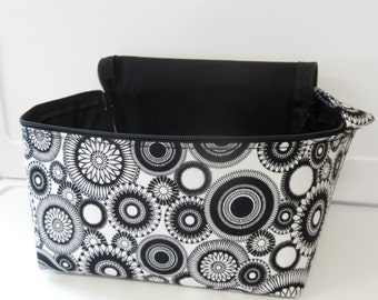 Super Large 6 inch Depth Fabric Coupon Organizer  - With ZIPPER CLOSER Black and White Medallion