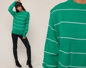 Green Sweater Striped Sweater 80s Knit Sweater Slouch Hipster 1980s Jumper Vintage Pullover Retro Medium Large