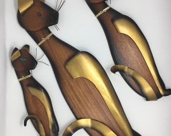 Mid Century Modern Romm of NY CAT Wood and Metal Wall Hangings SET of Three