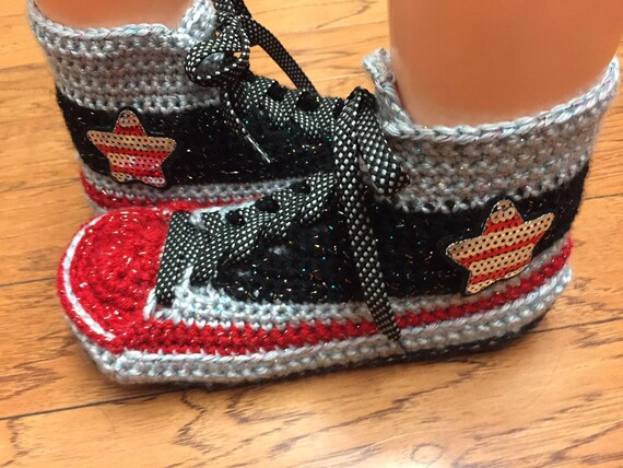 a876fd8d6520 sneaker converse custom top high tennis shoes 9 converse 453 converse  inspired crocheted Womens 7 bling ...