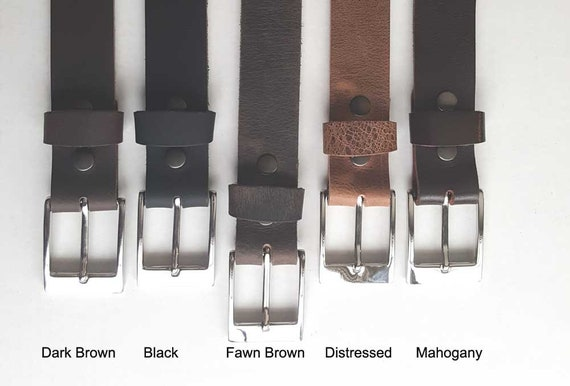 """Fawn Brown Leather Belt & Buckle with Snaps, Belt Keeper Grooms Groomsmen's Gifts  1-1/2"""" wide Belt for Jeans or 1-1/4"""" wide Belt for Suits"""