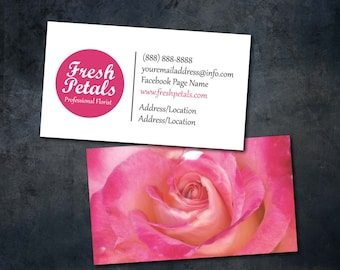 Business Card Template/Pink & White/Florist/Photographer/Printable Business Card Design/