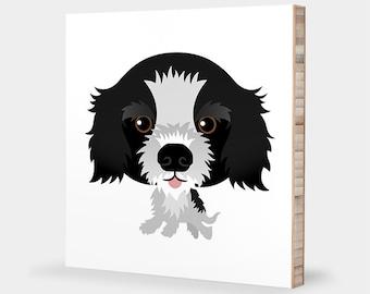 Cocker Spaniel art | Black & White - Alphabet art, Pet portrait, Cocker Spaniel gift, Dog art, Cocker Spaniel print, Spaniel Nursery decor