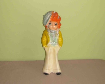 Vintage Chalkware Carnival Prize Bank Apache Babe With Original Glitter ,1936 ,15 1/2 Inches Tall