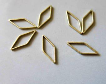 200pcs Raw Brass Rhombus Rings , Charms 16mm x 6mm - F497