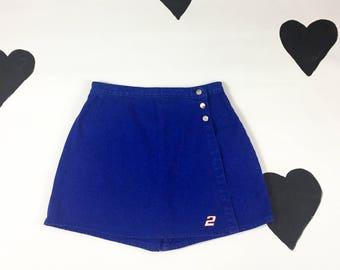 90s Cobalt Blue Denim Skort / Shorts / Skirt / Athletic / Racing / Sporty / Large / High Waist / Cyber / Club Kid / Internet Aesthetic / XL