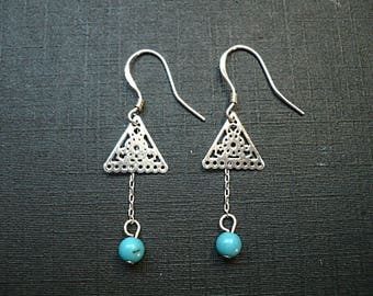 Silver triangle earrings / turquoise