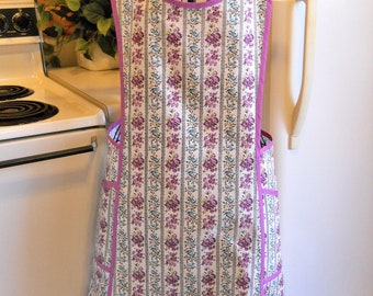 Vintage Style Crossover No Tie Apron in Purple Size Large