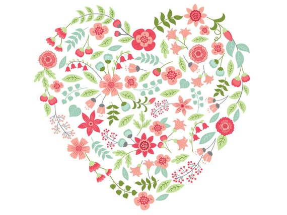 Floral Heart Clipart Vector Floral Heart Clipart Flower