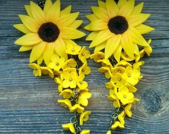 Sunflower earrings, Flower earrings, Gift for her, Sunflower jewelry, Long earrings, Botanical jewelry, Bohemian earrings, Sunflower party