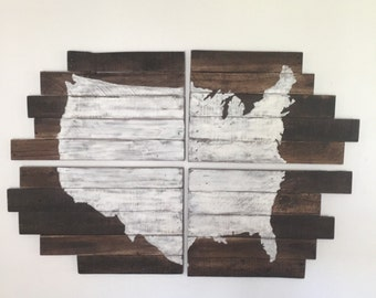Rustic Home Decor - Map of the United States made from Reclaimed Wood