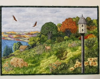 Landscape Wall Quilt, Birdhouse, Deer, Eagles, River, Trees, Flowers, Meadow