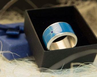 Colorful Ring Guilloche Enamel Ring Starfish Ring Blue Enamel Ring Hot Enamel Enameled Jewelry Vitreous Enamel Sunny Gift For Her