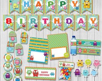 Monster party package, Monster Birthday, Monster banner, Monster bag, Monster tag, Monster food, Monster water | MON_FULL