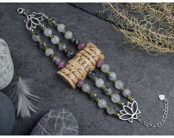 Wine Cork Bracelet with Tourmalinated Quartz, Peridot and Lepodite