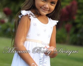 CUSTOMIZE ACCENT COLOR on White Flower Girl Dress