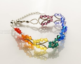 SALE; Size 7 to 8 1/2 inches; Rainbow bracelet; Swarovski bracelet; Spectrum rainbow butterfly Swarovski Crystal Bracelet by CandyBead