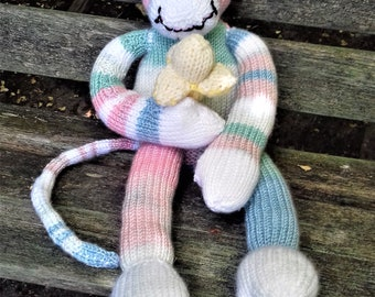 Soft toy, knitted monkey- multi-coloured. Gift for baby/ toddler/ new baby/ baby shower/ christening/ first birthday/ granddaughter/godchild