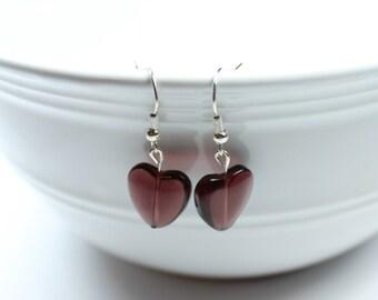 "Earrings - Hearts - Crystal Beads - Dark Raspberry ""Crazy, Cupid, Love"""