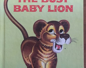 Book Childrens The BUSY BABY LION Wonder Books #737 Lucienne Erville and Rik Jottier 1959 Mid Century Bedtime Story