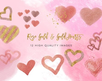 Hearts Clipart, Rose Gold Heart Clip Art, Digital Hearts, Hearts Instant Download, Red Pink Hearts Clipart, Valentine Clip Art, Hearts PNG