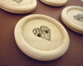 Wooden Buttons - Stamped Fancy Heart Collection - 30mm