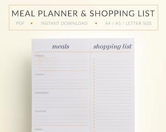 Printable Meal Planner, Printable Weekly Menu Plan, Printable Shopping list, Printable Grocery List, Printable Food planner, Shopping list