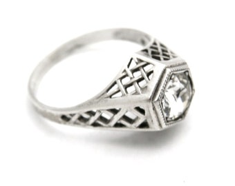 Stunning Vintage Engagement Cocktail Ring 925 Sterling Silver Art Deco Large Stone Womens Size 7