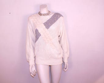 Vintage White Angora Wool Sequined sweater. Never been worn. 1980s womens Medium, warm cozy statement sweater, shoulder pads, free shipping
