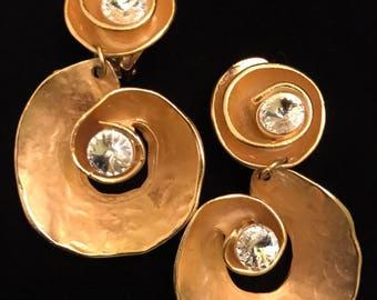 Modernist Gold And Diamond Rhinestone Statement Earrings- Norma Jean Design