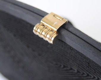 1940's BLACK HANDBAG COCKTAIL Purse / Cord Clutch / Formal Evening by Gold Seal