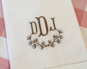 Monogrammed Cotton Tea Towel Linen Embroidered