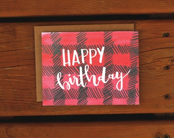 Plaid Birthday Card | Handpainted | Handlettered | Watercolor Greeting Card | Happy Birthday Card | Simple Birthday Greeting