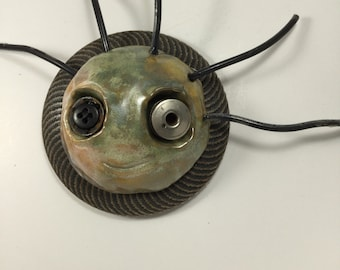 Lucy ceramic mask and found object sculpture, mask, wall art