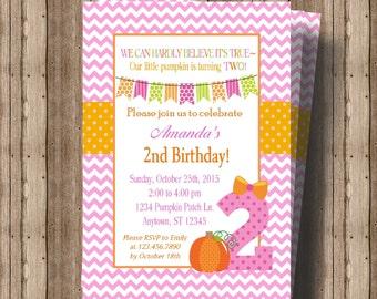 PUMPKIN SECOND BIRTHDAY Invitation for Girls / 2nd Birthday Invitation for Girl Fall Pink and Orange / Cute  Pumpkin Invitation 2nd Birthday