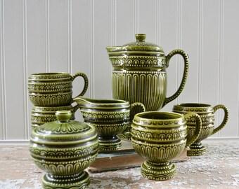 Vintage Green Tea Set - Cup Saucer Cream Sugar Pitcher Ceramic Retro 70's