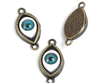 2 connectors eye glass 30 x 15mm bronze