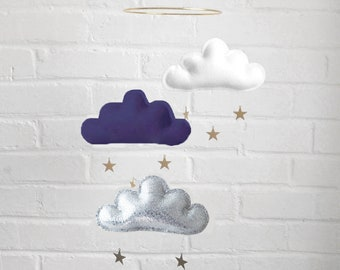 Navy and white nursery, Cloud mobile, Navy nursery. Baby boy nursery, Neutral gender nursery, Neutral baby gift, Ceiling Mobile, Baby mobile