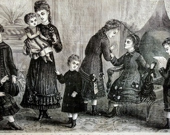 Victorian Fashion 1878 - BOYS and GIRLS Dresses and Suits CHILDRENS Clothes - Professionally Matted Fashion Lithograph Print Ready to Frame